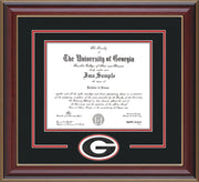Image of University of Georgia Diploma Frame - Cherry Lacquer - 3D Laser G Logo Cutout - Black on Red on Off White mat