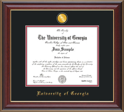 Image of University of Georgia Diploma Frame - Cherry Lacquer - w/24k Gold-Plated Medallion UGA Name Embossing - Black on Red mats