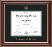Image of University of Georgia Diploma Frame - Cherry Lacquer - w/Embossed Seal & Name - Black on Red mats