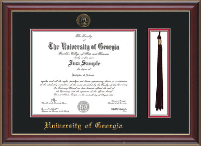 Image of University of Georgia Diploma Frame - Cherry Lacquer - w/UGA Embossed Seal & School Name - Tassel Holder - Black on Red mat