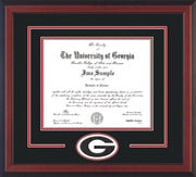 Image of University of Georgia Diploma Frame - Cherry Reverse - 3D Laser G Logo Cutout - Black on Red on Off White mat