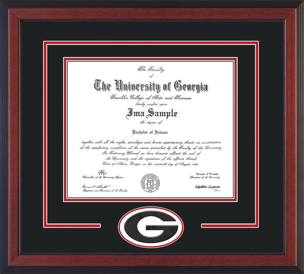 Image of University of Georgia Diploma Frame - Cherry Reverse - 3D Laser G Logo Cutout - Black on Red mat