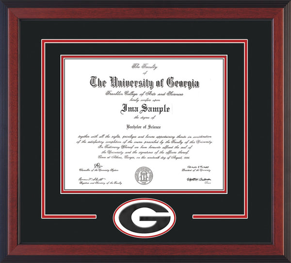 Uga Diploma Frame C Reverse Quot G Quot Cutout Black On Red On
