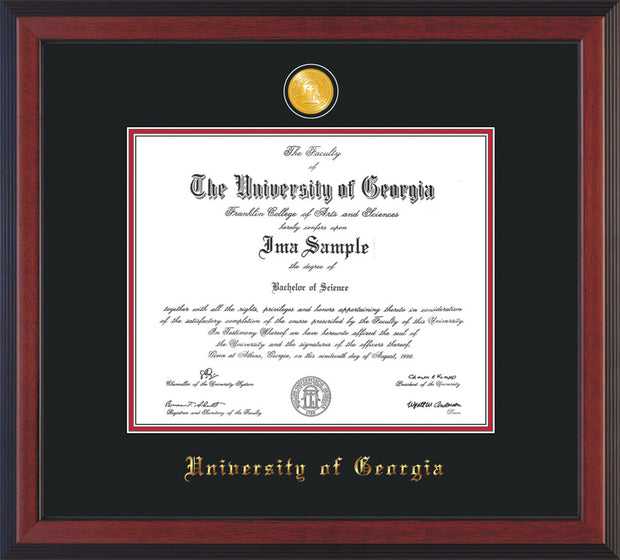 Image of University of Georgia Diploma Frame - Cherry Reverse - w/24k Gold-Plated Medallion UGA Name Embossing - Black on Red mats