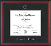 Image of University of Georgia Diploma Frame - Cherry Reverse - w/Embossed Seal & Name - Black Suede on Silver mats