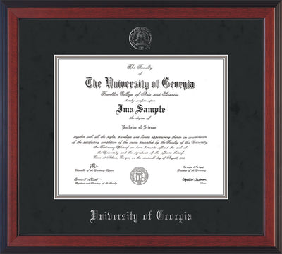 Image of University of Georgia Diploma Frame - Cherry Reverse - w/Embossed Seal & Name - Silver Embossing - Black Suede on Silver mats