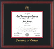 Image of University of Georgia Diploma Frame - Cherry Reverse - w/Embossed Seal & Name - Black on Red mats