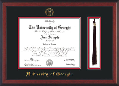 Image of University of Georgia Diploma Frame - Cherry Reverse - w/UGA Embossed Seal & School Name - Tassel Holder - Black on Red mat