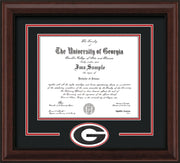 Image of University of Georgia Diploma Frame - Mahogany Bead - 3D Laser G Logo Cutout - Black on Red on Off White mat