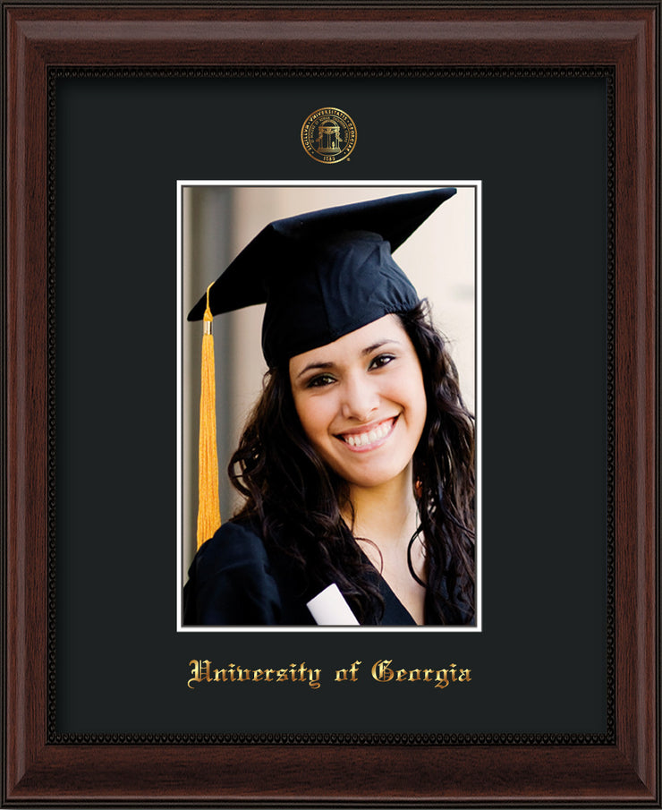 Image of University of Georgia 5 x 7 Photo Frame  - Mahogany Bead - w/Official Embossing of UGA Seal & Name - Single Black mat