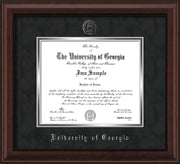 Image of University of Georgia Diploma Frame - Mahogany Bead - w/Embossed Seal & Name - Black Suede on Silver mats