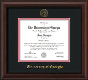 Image of University of Georgia Diploma Frame - Mahogany Bead - w/Embossed Seal & Name - Black on Red mats