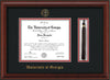 Image of University of Georgia Diploma Frame - Mahogany Bead - w/UGA Embossed Seal & School Name - Tassel Holder - Black on Red mat