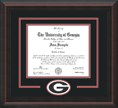 Image of University of Georgia Diploma Frame - Mahogany Braid - 3D Laser G Logo Cutout - Black on Red mat