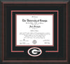 Image of University of Georgia Diploma Frame - Mahogany Braid - 3D Laser G Logo Cutout - Black on Red on Off White mat