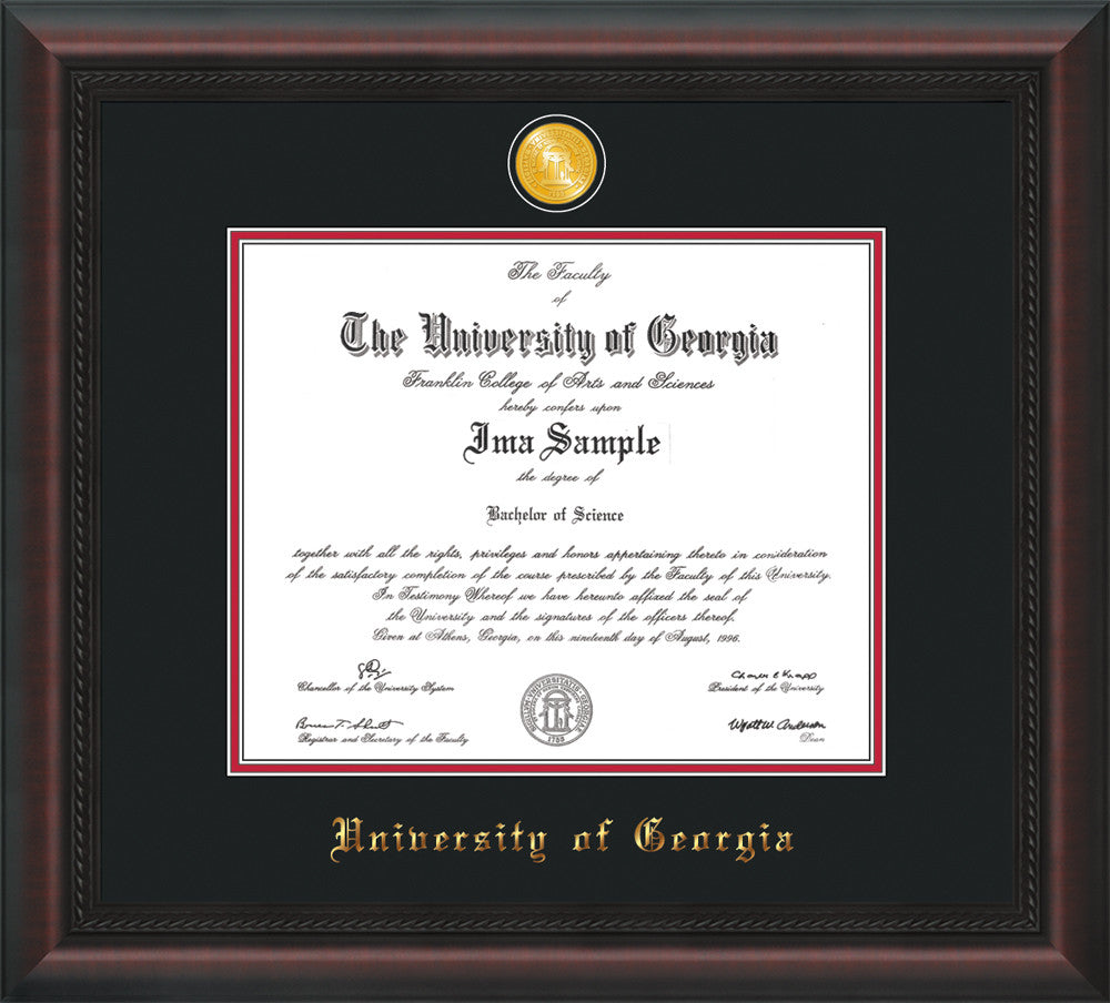 Uga Diploma Frame Mahogany Braid W Medallion Black On