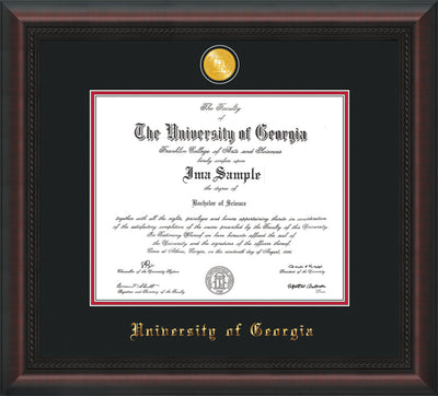 Image University of Georgia Diploma Frame - Mahogany Braid - w/24k Gold-Plated Medallion UGA Name Embossing - Black on Red mats