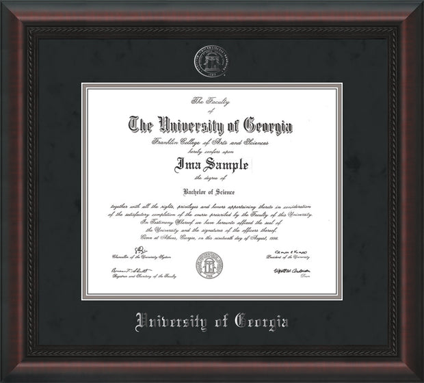 Image of University of Georgia Diploma Frame - Mahogany Braid - w/Embossed Seal & Name - Silver Embossing - Black Suede on Silver mats