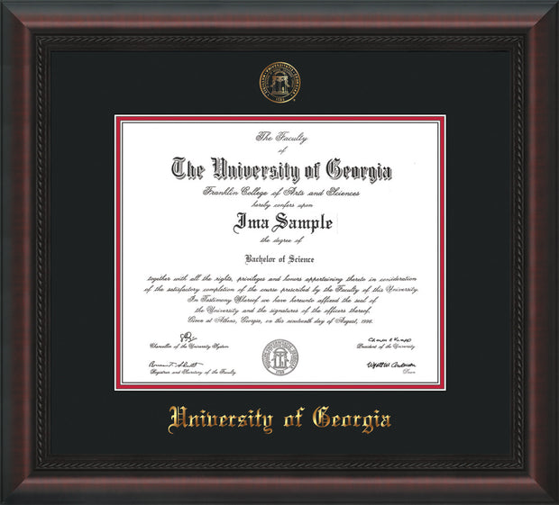 Image of University of Georgia Diploma Frame - Mahogany Braid - w/Embossed Seal & Name - Black on Red mats