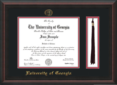 Image of University of Georgia Diploma Frame - Mahogany Braid - w/UGA Embossed Seal & School Name - Tassel Holder - Black on Red mat