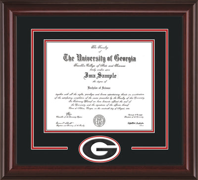 Image of University of Georgia Diploma Frame - Mahogany Lacquer - 3D Laser G Logo Cutout - Black on Red on Off White mat