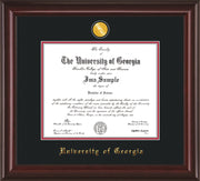 Image of University of Georgia Diploma Frame - Mahogany Lacquer - w/24k Gold-Plated Medallion UGA Name Embossing - Black on Red mats
