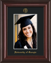 Image of University of Georgia 5 x 7 Photo Frame  - Mahogany Lacquer - w/Official Embossing of UGA Seal & Name - Single Black mat