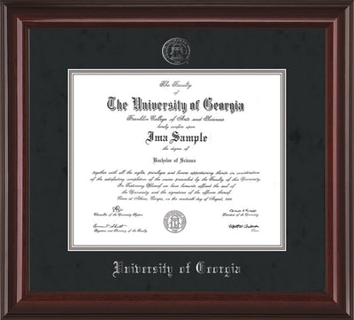 Image of University of Georgia Diploma Frame - Mahogany Lacquer - w/Embossed Seal & Name - Silver Embossing - Black Suede on Silver mats