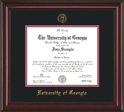 Image of University of Georgia Diploma Frame - Mahogany Lacquer - w/Embossed Seal & Name - Black on Red mats