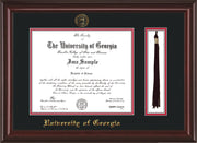 Image of University of Georgia Diploma Frame - Mahogany Lacquer - w/UGA Embossed Seal & School Name - Tassel Holder - Black on Red mat