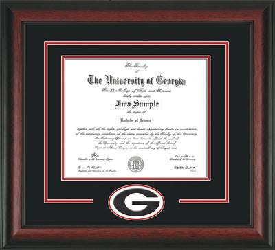 Image of University of Georgia Diploma Frame - Rosewood - 3D Laser G Logo Cutout - Black on Red on Off White mat
