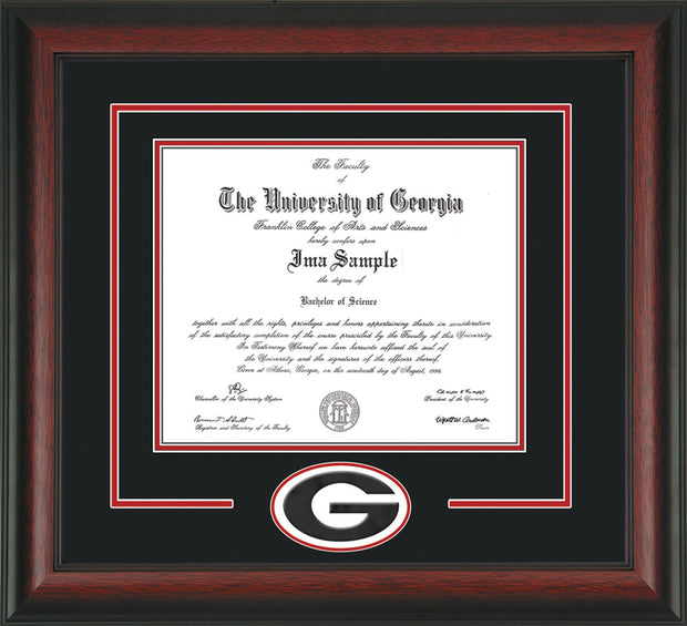 Image of University of Georgia Diploma Frame - Rosewood - 3D Laser G Logo Cutout - Black on Red mat