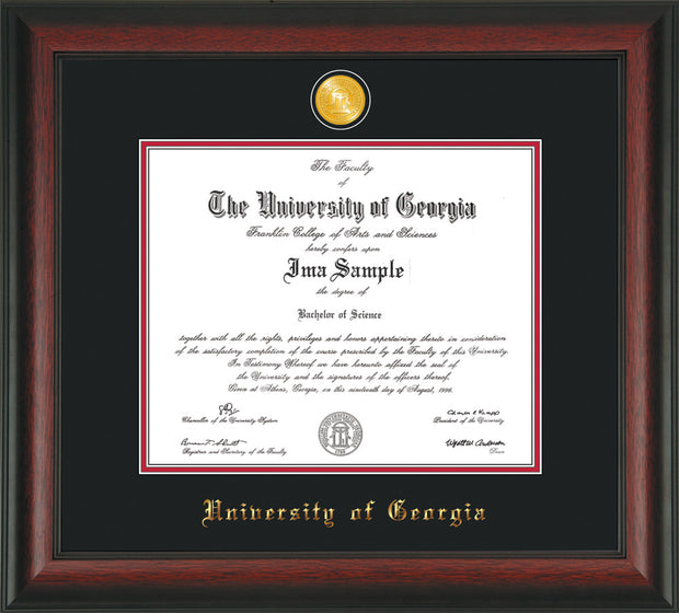 Image of University of Georgia Diploma Frame - Rosewood - w/24k Gold-Plated Medallion UGA Name Embossing - Black on Red mats
