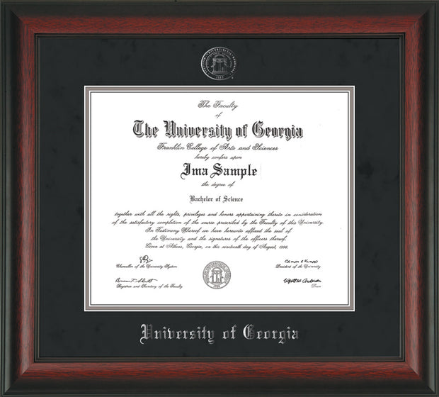 Image of University of Georgia Diploma Frame - Rosewood - w/Embossed Seal & Name - Black Suede on Silver mats