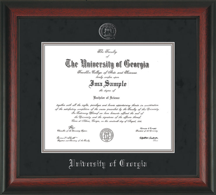 Image of University of Georgia Diploma Frame - Rosewood - w/Embossed Seal & Name - Silver Embossing - Black Suede on Silver mats