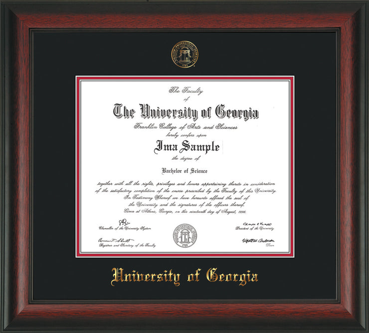 Image of University of Georgia Diploma Frame - Rosewood - w/Embossed Seal & Name - Black on Red mats