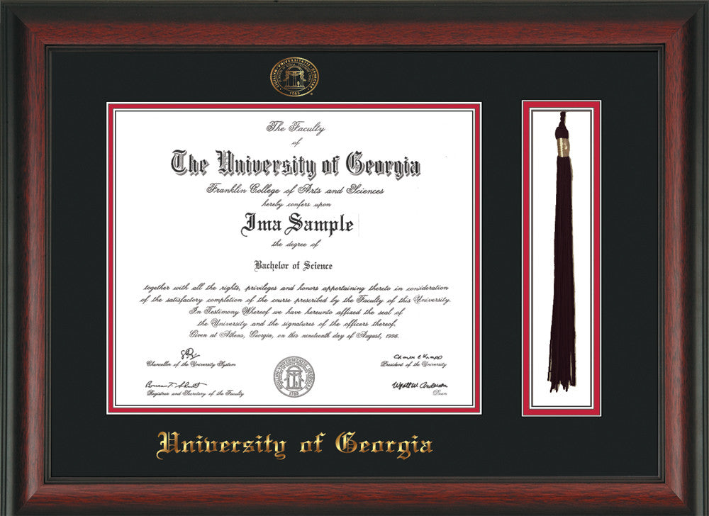 UGA Diploma Frame - Rosewood- Seal & Tassel - Black/Red - Official ...