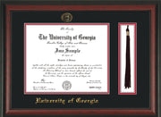 Image of Copy of University of Georgia Diploma Frame - Rosewood - w/UGA Embossed Seal & School Name - Tassel Holder - Black on Red mat