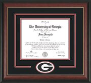 Image of University of Georgia Diploma Frame - Rosewood w/ Gold Lip - 3D Laser G Logo Cutout - Black on Red mat