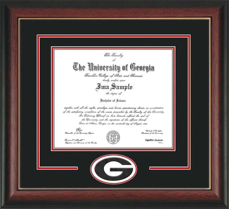 Image of University of Georgia Diploma Frame - Rosewood w/ Gold Lip - 3D Laser G Logo Cutout - Black on Red on Off White mat