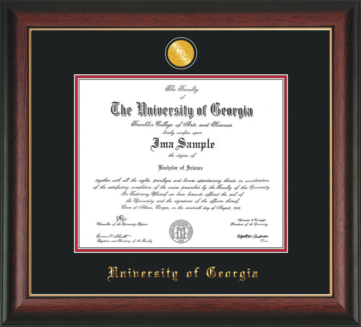 Image of University of Georgia Diploma Frame - Rosewood w/Gold Lip - w/24k Gold-Plated Medallion UGA Name Embossing - Black on Red mats