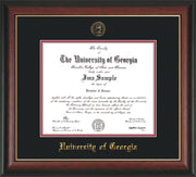 Image of University of Georgia Diploma Frame - Rosewood w/Gold Lip - w/Embossed Seal & Name - Black on Red mats