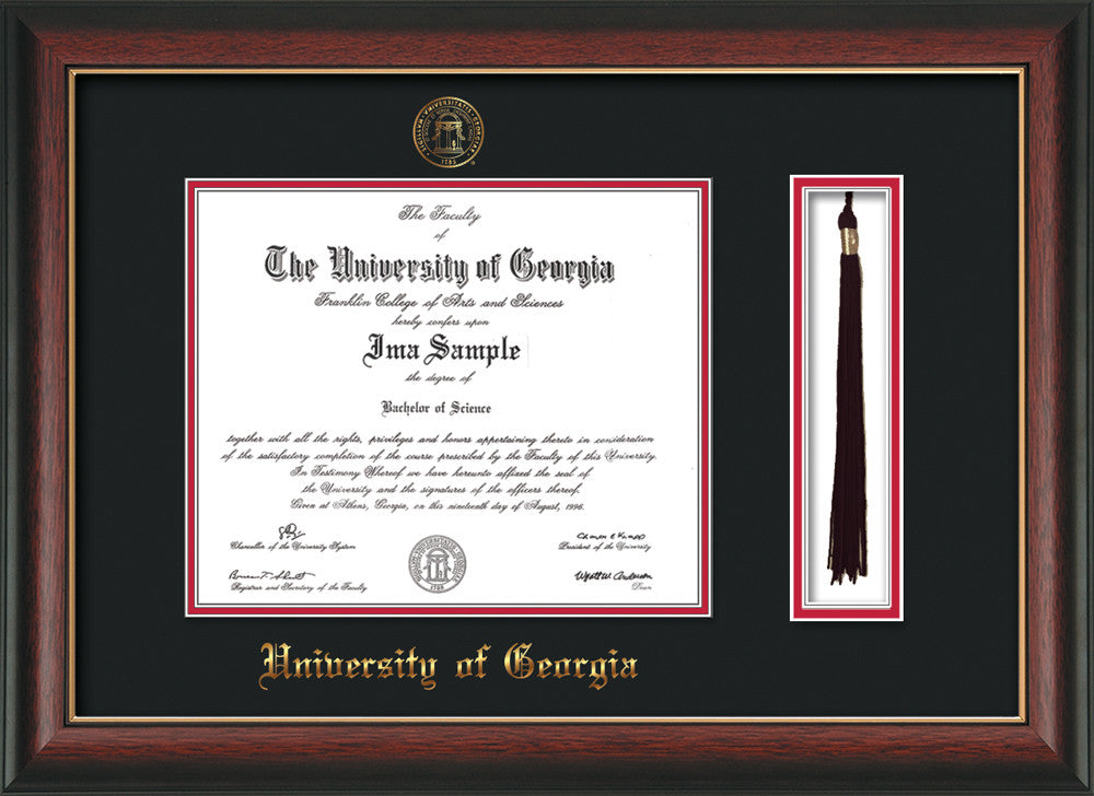 UGA Diploma Frame - Rosewood w/Gold Lip - Seal & Tassel - Black/Red ...