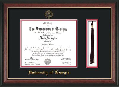 Image of University of Georgia Diploma Frame - Rosewood w/Gold Lip - w/UGA Embossed Seal & School Name - Tassel Holder - Black on Red mat