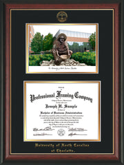 Image of University of North Carolina Charlotte Diploma Frame - Rosewood w/Gold Lip - w/Official Embossing of UNCC Seal & Name - Campus Watercolor - Black on Gold mats