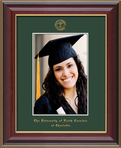 Image of University of North Carolina Charlotte 5 x 7 Photo Frame - Cherry Lacquer - w/Official Embossing of UNCC Seal & Name - Single Green mat