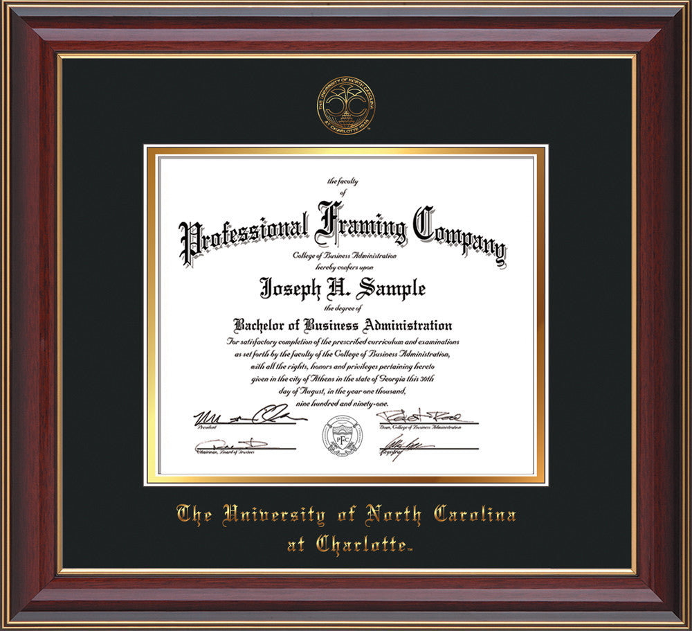 image of university of north carolina charlotte diploma frame cherry lacquer wofficial - Dual Diploma Frame