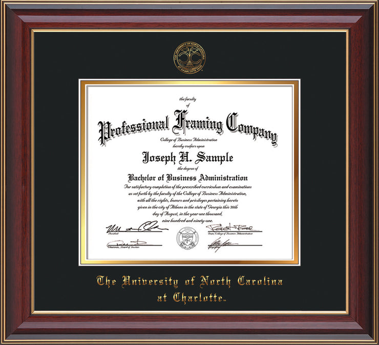 Image of University of North Carolina Charlotte Diploma Frame - Cherry Lacquer - w/Official Embossing of UNCC Seal & Name - Black on Gold mats