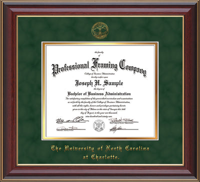 Image of University of North Carolina Charlotte Diploma Frame - Cherry Lacquer - w/Official Embossing of UNCC Seal & Name - Green Suede on Gold mats