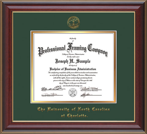 Image of University of North Carolina Charlotte Diploma Frame - Cherry Lacquer - w/Official Embossing of UNCC Seal & Name - Green on Gold mats